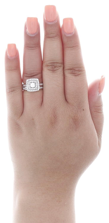 Amazon.com: 14K White Gold Round Cut Solitaire Diamond Double Halo ...