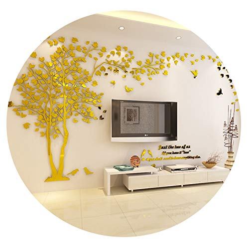 2019 Lovers Tree Wall Stickers Living Room Sofa Background 3D Acrylic Crystal Wall Sticker DIY Home Art Wall Decor,Golden-Left,XXL About 2.5x5m ()