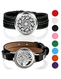 Aroncent 2 Pcs Aromatherapy Essential Oil Diffuser Locket Bracelet Leather Band with 8 Color Pads
