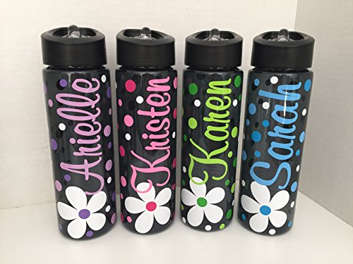 Personalized 24 ounce BPA free water bottle with flower design