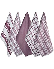"""DII 100% Cotton, Ultra Absorbent Fast Dry, Professional Grade, Luxury Everyday Basic Kitchen Assorted Dish Towels 18 x 28"""" Set of 5"""