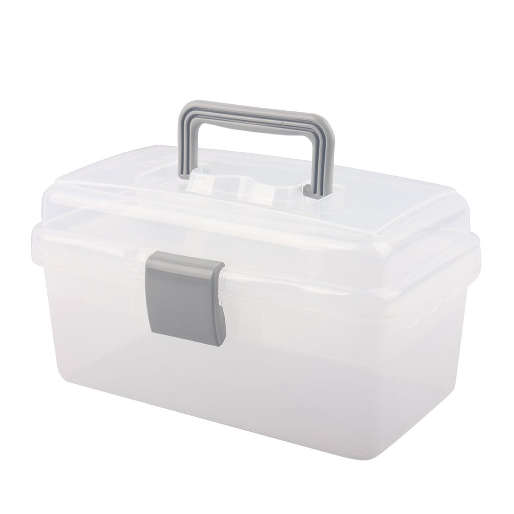 BangQiao Multi-Purpose Plastic Storage Container Box with Handle and Latch Lock,Clear&Gray
