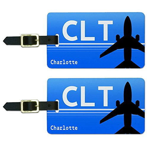 - Charlotte NC (CLT) Airport Code Luggage Suitcase Carry-On ID Tags Set of 2