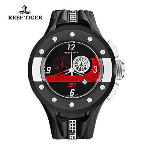 (Reef Tiger Sport Watches Men's Rubber Strap Watch with Chronograph Date Analog Quartz Watches RGA3027 (RGA3027-BBBR))