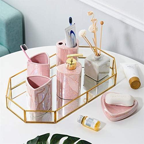 FXin バスルームアクセサリーセット、セラミックバスルームセットトレイを含む創造的な7ピースセット、バスルーム液体ボトル石鹸皿マグカップ歯ブラシホルダーセット、ホームデコレーション装飾品 シャワー室