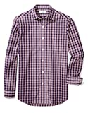Buttoned Down Men's Classic Fit Spread-Collar Pattern, Navy/Red Plaid, XXL 36/37