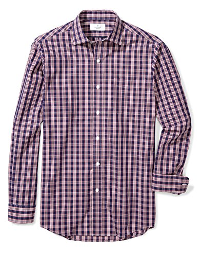 (BUTTONED DOWN Men's Classic Fit Supima Cotton Spread-Collar Pattern Non-Iron Dress Shirt, Navy/Red Plaid, XL 36/37)