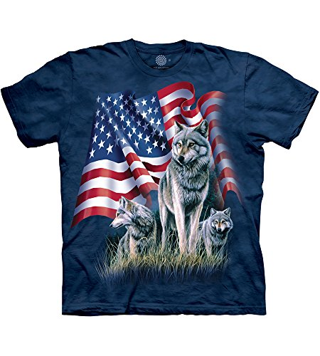 The Mountain Mens Wolf Flag Short Sleeve Tee made in New Hampshire