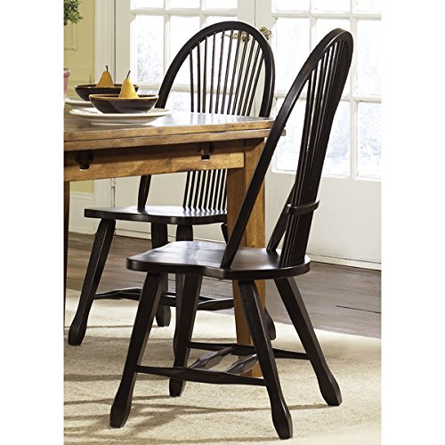 (Treasures Rustic Black Sheaf Back Dining Chair)