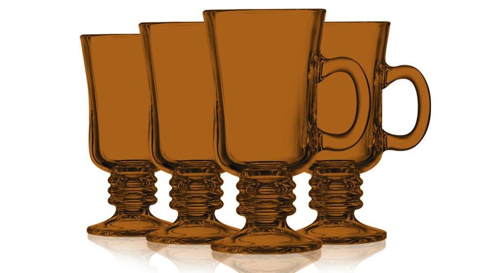 Orange Irish Coffee Mug Fully Colored - 8.5 oz. set of 4- Additional Vibrant Colors Available