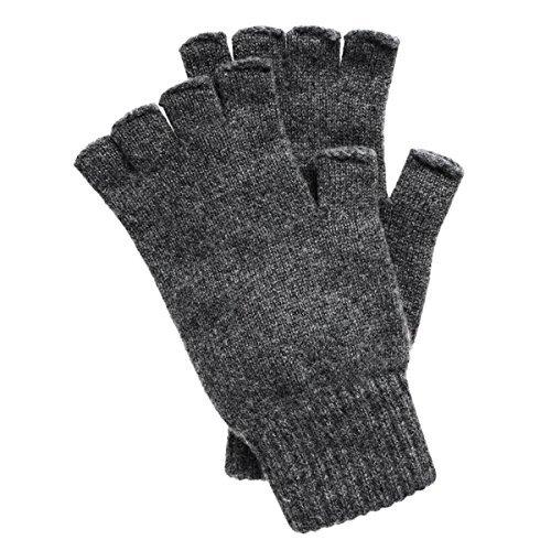 Men's Fingerless Cashmere Gloves made in Scotland (Derby Gray)