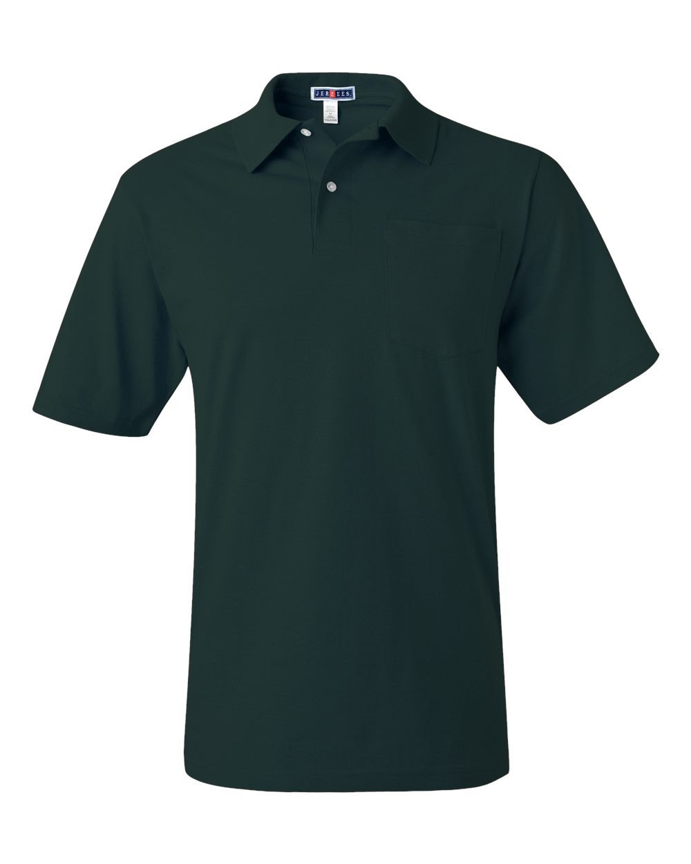 Jerzees mens 5.6 oz. 50/50 Jersey Pocket Polo with SpotShield(436P)-FOREST GREEN-2XL