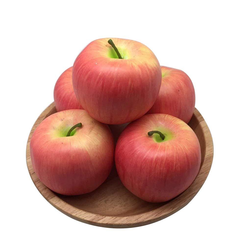 Debon realistica frutta artificiale falso mela rossa per display ad alta simulazione artificiale finta frutta verdura studio fotografico Prop accessori fai da te Decorazione artificiale food Toys–Set da 5pezzi da cucina