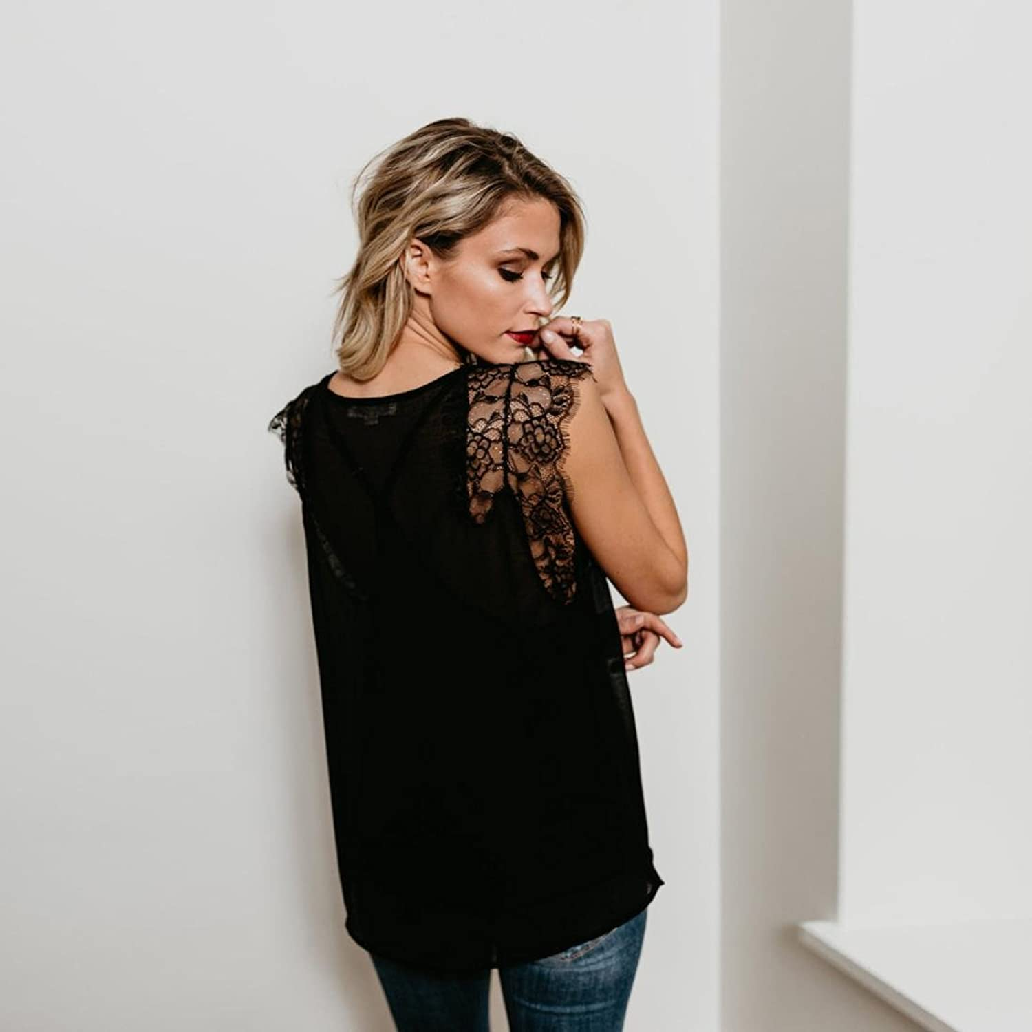 Amazon.com: DondPO Women Lace Sleeveless Tops Sexy Deep V Neck Hollow Summer Loose Blouse T Shirt Vest: Clothing