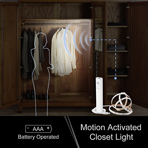 Motion Sensor Closet Light, WILLED Motion Activated Under Cabinet Light with Dual Mode, Stick-on Anywhere Wireless Battery Operated Flexible LED Strip Night Light for Stair, Crib Baby Bed (With Motion Sensor Closet Light)