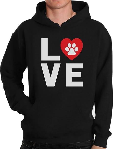 Animales Huellas de perro - Love Perros My Best Friend sudadera con capucha Negro negro Small: Amazon.es: Ropa y accesorios