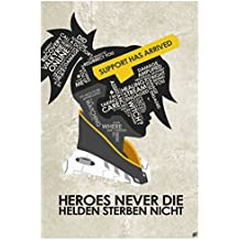 "Northwest Art Mall Overwatch, Mercy, HEROES NEVER DIE Word Art Print Poster (12"" x 18"") by Artist Stephen Poon."