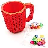Build-on Brick coffee Mug - Coffee mug +2 box bricks (Red), BPA-free Coffee Mug Lego Style Puzzle Mugs, Building Blocks Water Bottle Tea Cup, Plastic Mug for Coffee Tea Beverage Drinking
