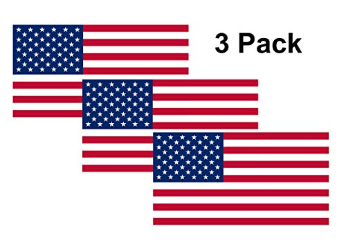 (Rogue River Tactical American USA Flag Sticker Patriotic Stars and Stripes United States Auto Car Decal Window Bumper US Military (3 Pack 3x5))