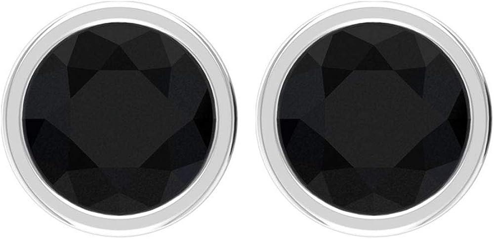 Aretes de diamante negro certificado SGL de 0,50 ct, oro blanco antiguo, bisel de piedra negra, pendientes vintage de diamantes pequeños para mujer, regalo, tornillo hacia atrás