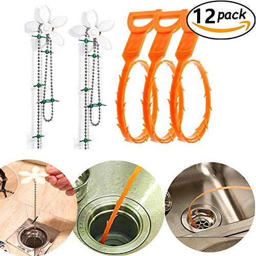 JeVenis 12 Pcs Shower Drain Hair Drain Clog Remover Flower Cleaning Chain Sewer Clog Dredge Flexible Drain Hook Slow Drain Relief Cleaner Snake Hair Clog Tool for Kitchen Bathroom Toilet