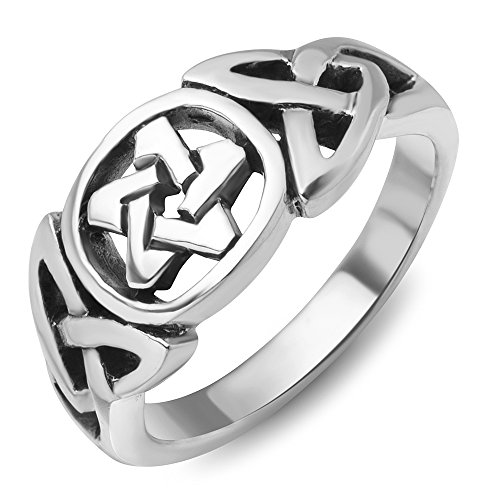 (Chuvora 925Sterling Silver Celtic Knot Star Pentacle Pentagram Band Ring Jewelry Size 6)