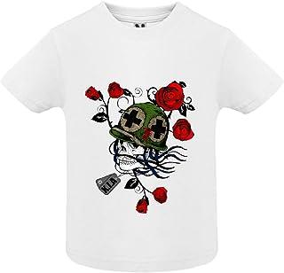 T-Shirt - Manche Courte - Col Rond - Tete de Mort 33 - Bébé Garçon - Blanc - 2ans