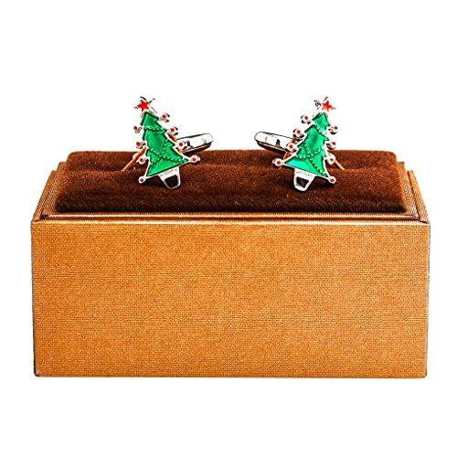 Christmas Tree Cufflinks - MRCUFF Christmas Tree Star Presentation Gift Box Pair Cufflinks & Polishing Cloth