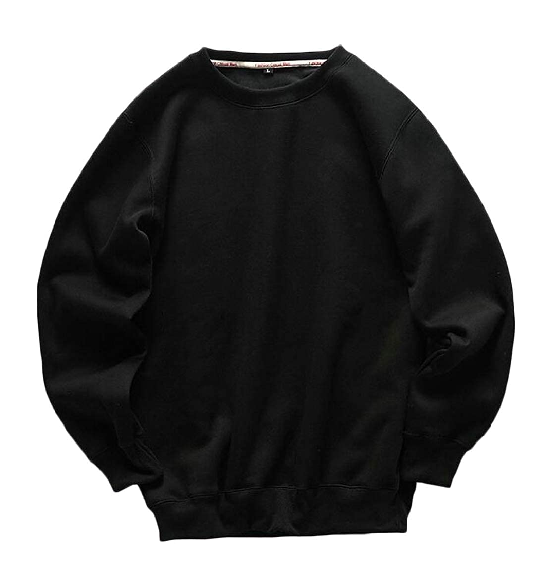 Sweatwater Mens Pullover Pure Colour Thicken Casual Round Neck Athletic Sweatshirts