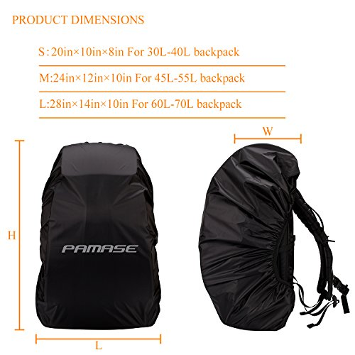 PAMASE 30L 70L Waterproof Backpack Rain Cover with Adjustable Buckle Strap & Reflective Letter Strip