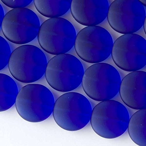 Cherry Blossom Beads Royal Blue Cultured Sea Glass Beads 15mm Coin - 7.5 Inch Strand ()