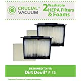 2 Highly Durable Washable & Reusable Dirt Devil F13 HEPA Filters & Foam Pre-filters; Compare to Dirt Devil Part No. 3LK0540001; Designed & Engineered by Think Crucial