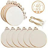 "Jolik 40 Pieces Wooden Ornaments Unfinished, 3.5""Round Blank Wood Discs for DIY Christmas Ornaments"
