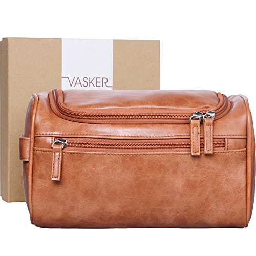 [Gift Box] VASKER Travel Hanging Toiletry Bag for Men Waterproof (Brown) (Leather Bag Toiletry)