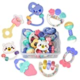 Tumama 8pcs Baby Rattles Teethers Set, Grab Toys, Shaking Bell Rattle Set with Storage Box for Infant, Newborn Baby, Toddler, Candy Colors