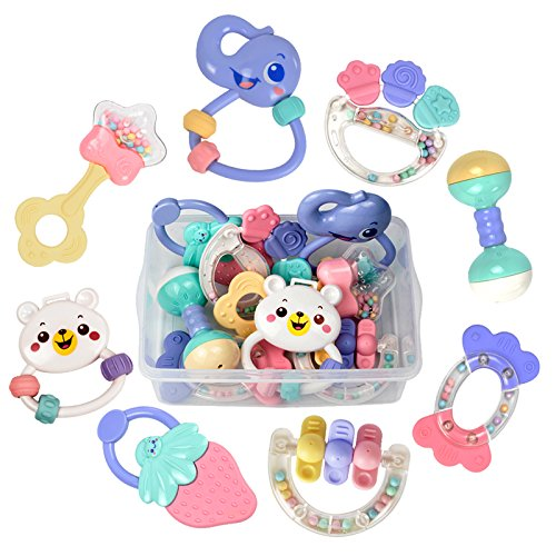 TUMAMA Baby Rattles Teether Toys, Infant Shaking Bell Rattle Set with Storage Box BPA Free Toys for 0, 3, 6, 9, 12 Month Old and Newborn Baby, Candy Colors]()