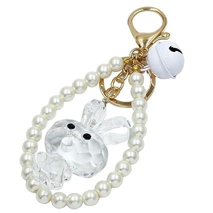 Amazon com: Weiy Bunny Rabbit Bell Keychain Artificial Pearl