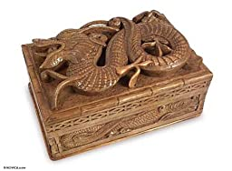 NOVICA Hand Carved Power Walnut Wood Jewelry Box, Brown, \'Lucky Dragon\'