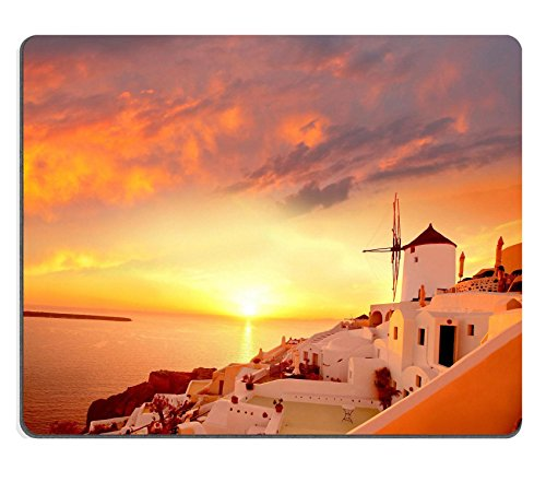 MSD Natural Rubber Gaming Mousepad Windmill against colorful sunset Santorini Greece IMAGE 19102413 (Hotel Bell No Slip compare prices)