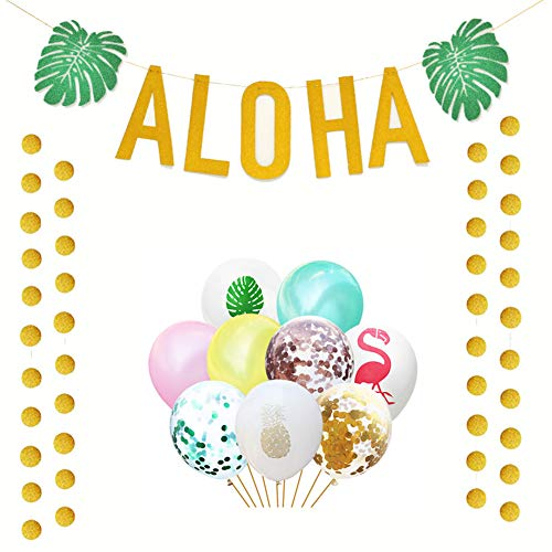 50 PCS Hawaiian Luau Party Decorations, Gold Glittery Aloha Banner and Flamingo Leaf Pineapple Balloons forTropical Beach Party -