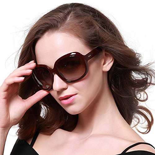 Duco Women's Oversized Polarized Sunglasses 100% UV Protection 3113 Wine Red Frame Brown - Protection 100 Uv Women Sunglasses