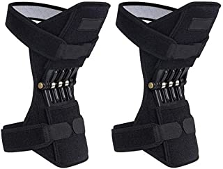 TUU Knee Brace Powerlift Joint Support Knee Pads Powerful Rebound Spring Force Brace Rebound Booster Knee Protection Powerful for Exercise, Running (Black)