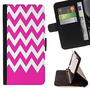 King Case - FOR Samsung Galaxy S3 III I9300 - Pink white waves - Prima caja de la PU billetera de cuero con ranuras para tarjetas, efectivo Compartimiento desmontable y correa para la mu?eca