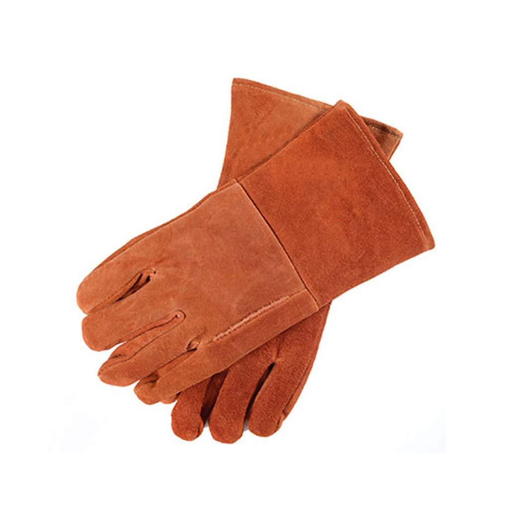 FYCZ Handschuh Schweißhandschuhe, Leder Verschleißfeste Industrie Hochtemperaturbeständige Isolierung Verbrühschutz Lange Verdickung