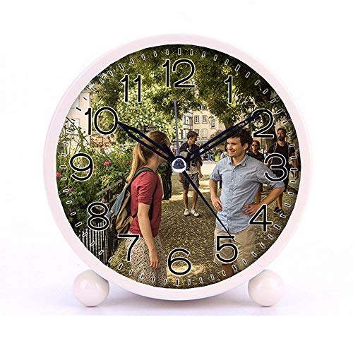Cute Color Alarm Clock, Round Metal Desk Clock Portable Clocks with Night Light House Decorations -115.Alsace, Colmar, Couple, France (red)