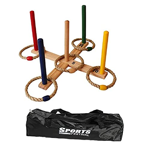 Sports Festival Wooden Ring Toss Game Set Comes with 5 Colors and 5 Rope Rings, Carrying Case Compact And Easy to Use Outdoor Games for Kids, Family Reunion - Kids And Family