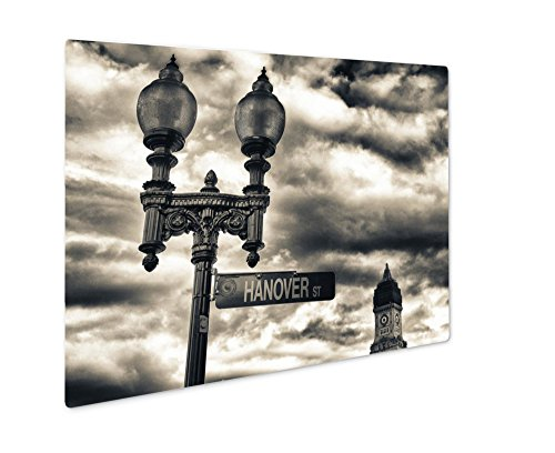 Ashley Giclee Metal Panel Print, Street Sign And Buildings Boston Ma, Wall Art Decor, Floating Frame, Ready to Hang 16x20, - Street Ma Newbury
