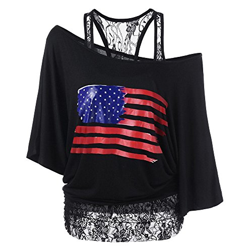 (Sherostore ♡ Women's Off Shoulder Lace Shirts Short Sleeve Party Casual Loose Oversized Tops Blouses July 4Th)