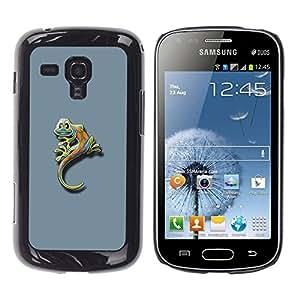 TopCaseStore / la caja del caucho duro de la cubierta de protección de la piel - Cute Funny Minimalist Gecko Gecko Lizard - Samsung Galaxy S Duos S7562
