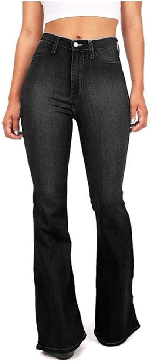 Tootess Womens Faded Slim Fit Flared Washed Mid-waist Denim Trousers